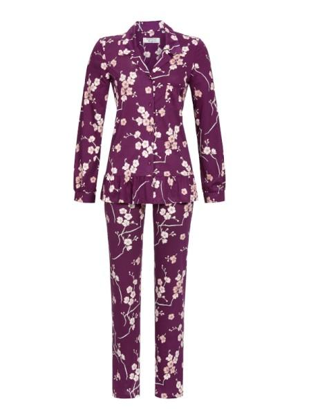 Damen Schlafanzug durchgeknöpft Kirschblüte RINGELLA