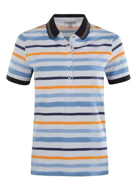 Damen Poloshirt STAY Fresh weiß blau gelb - hajo