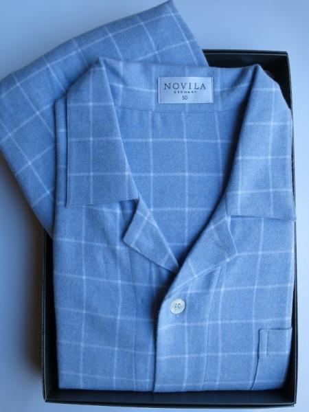 Herren Flanell Pyjama Max hellblau NOVILA