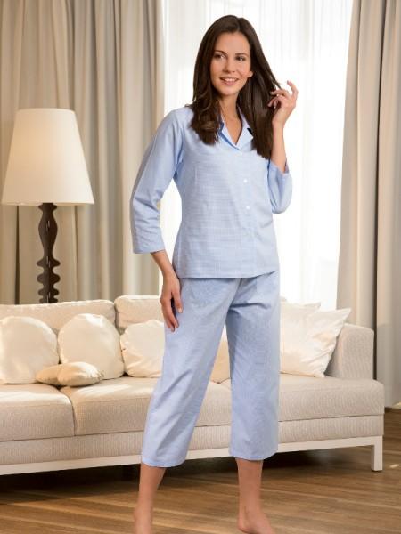 Leichter Damen Pyjama Nora 3/4 Arm 7/8 Hose Karo NOVILA
