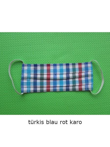 Mund- & Nasen- Bedeckung 100% Baumwolle türkis blau rot Karo