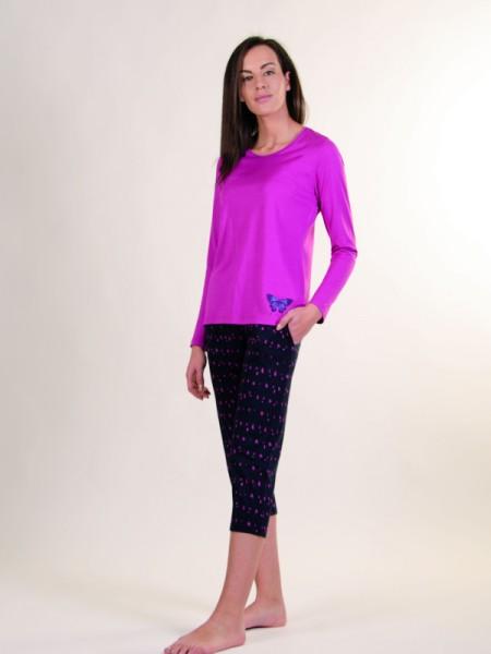 Damen Schlafanzug pink+marine 7/8 Hose AMMANN