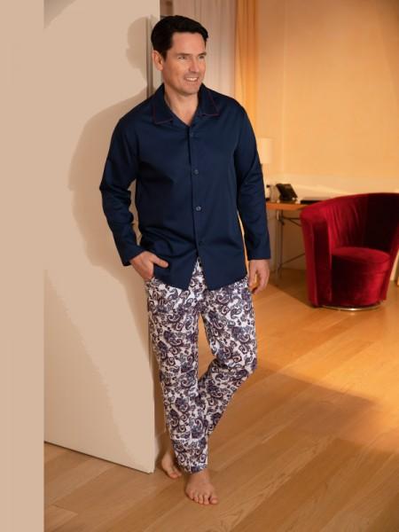Herren Pyjama Bennett Paisley marine NOVILA