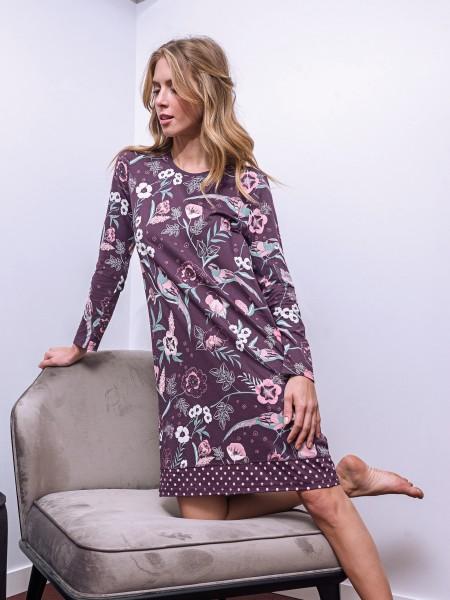 Damen Nachthemd Cotton Modal aubergine Blumen AMMANN