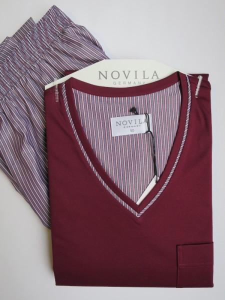 Herren Schlafanzug Alexander bordeaux Streifen NOVILA