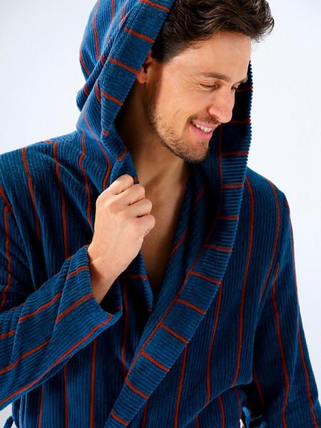 Herren Bademantel mit Kapuze blau rot CAWÖ