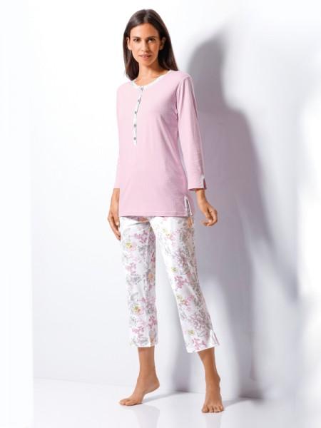 Damen Schlafanzug in 7/8 Länge Pastellrosé hajo