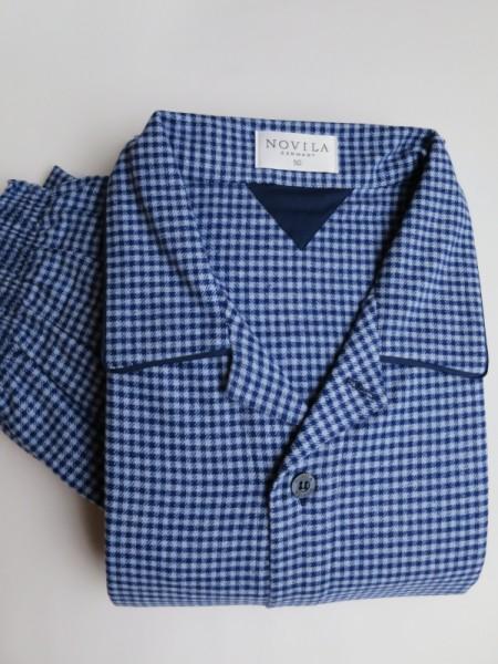 Flanell Pyjama Ben blau kariert NOVILA