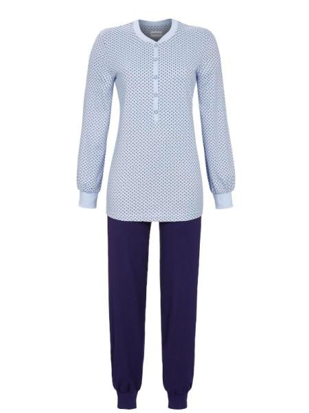 Damen Schlafanzug mit knopfleiste in bleu RINGELLA