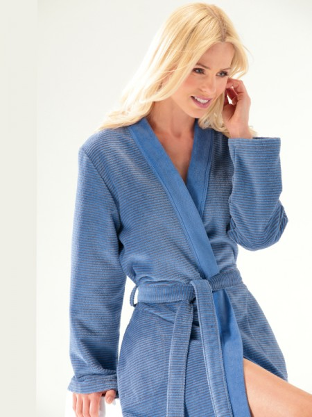 Damen Bademantel Walkvelours blau CAWÖ
