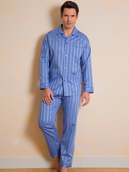 Herren Pyjama KAI Feinstreifen mittelblau NOVILA