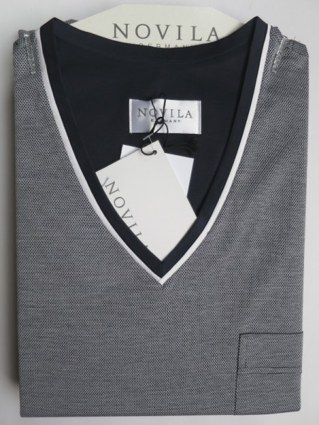 Herren Nachthemd Tobias marine gemustert NOVILA