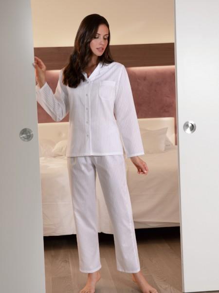 Damen Pyjama Helena Voile-Satin weiß NOVILA