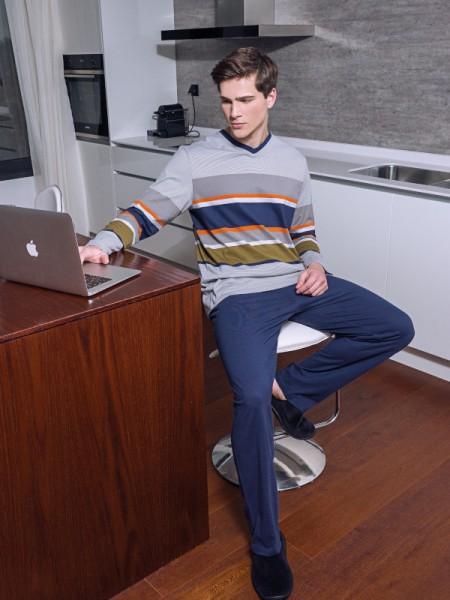 Herren Schlafanzug grau orange AMMANN