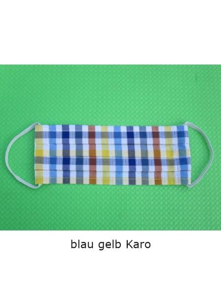 Mund- & Nasen- Bedeckung 100% Baumwolle blau gelb karo