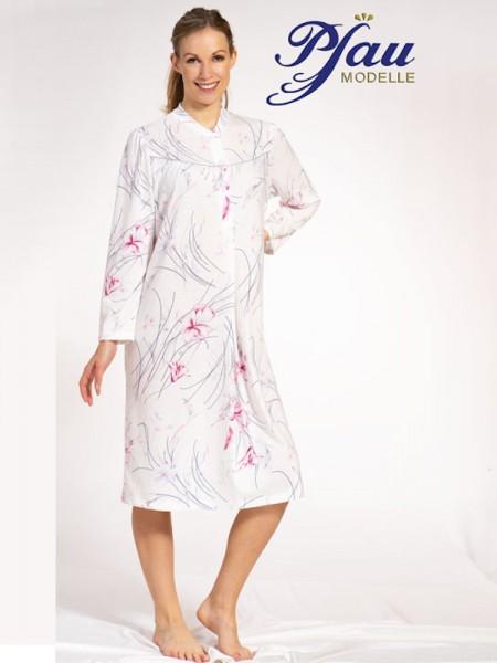 Nachthemd hochgeschlossen mit Knopfleiste PFAU