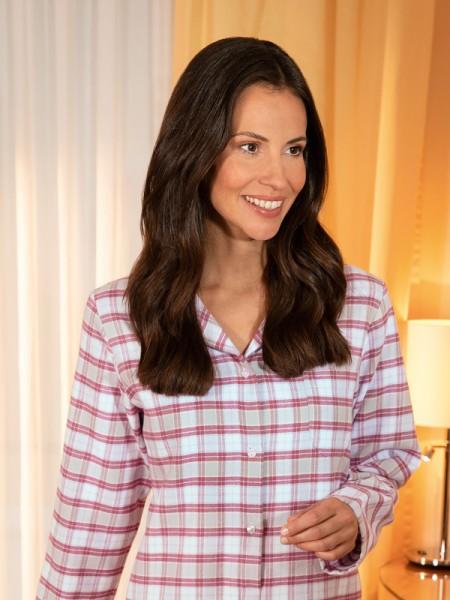 Damen Flanell Pyjama Helena - NOVILA - mauve Karo