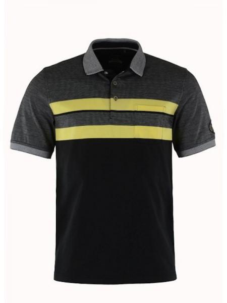 Modisches Herren Poloshirt schwarz gelb - hajo