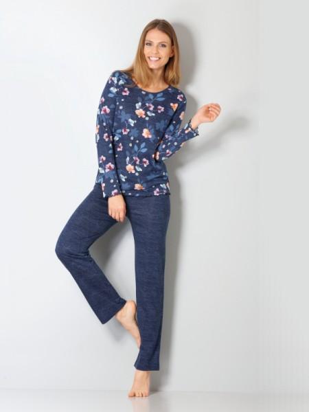 Damen Schlafanzug Baumwolle Lyocell in blau hajo