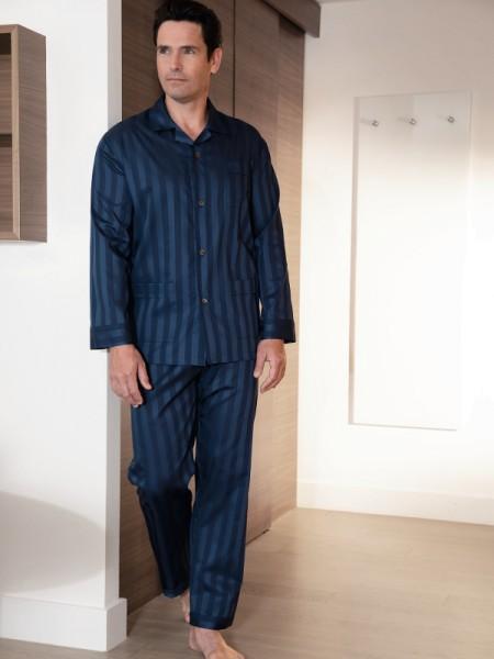 Herren Pyjama Kai Feinstreifen dunkelblau NOVILA