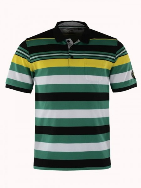 Herren Piqué Poloshirt grün Streifen - hajo