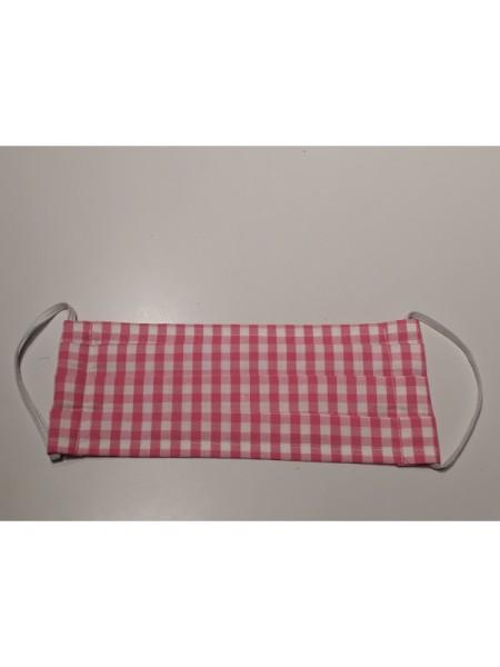 Mund- & Nasen- Bedeckung 100% Baumwolle rosa weiß karo