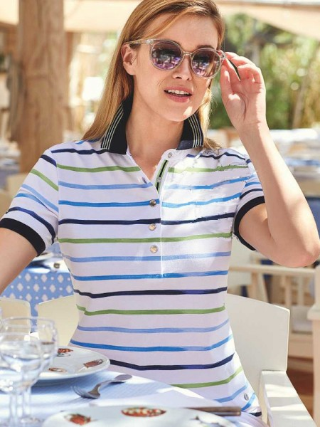 Poloshirt Stay Fresh weiß Streifen HAJO