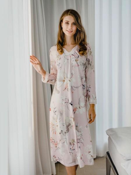 Langes Nachthemd rosé Blumen HUTSCHREUTHER