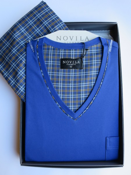 Herren Schlafanzug Alexander royalblau-ocker NOVILA
