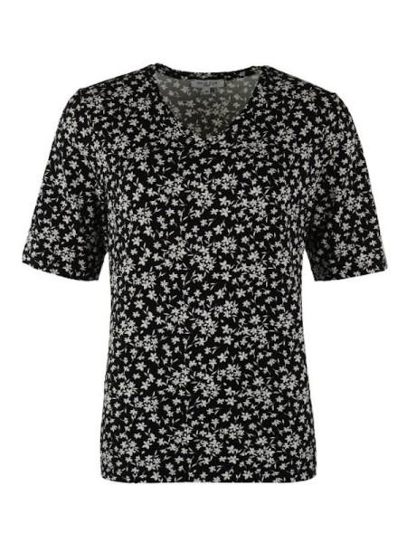 Shirt schwarz millefleurs Viscose HAJO