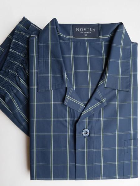 Herren Pyjama Max marine grün Karo NOVILA