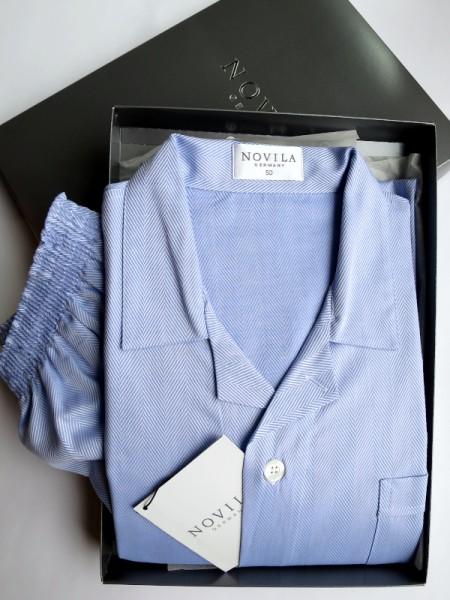 Herren Pyjama Marco blau Fischgrät NOVILA