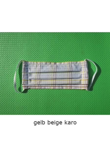Mund- & Nasen- Bedeckung 100% Baumwolle gelbbeigekaro