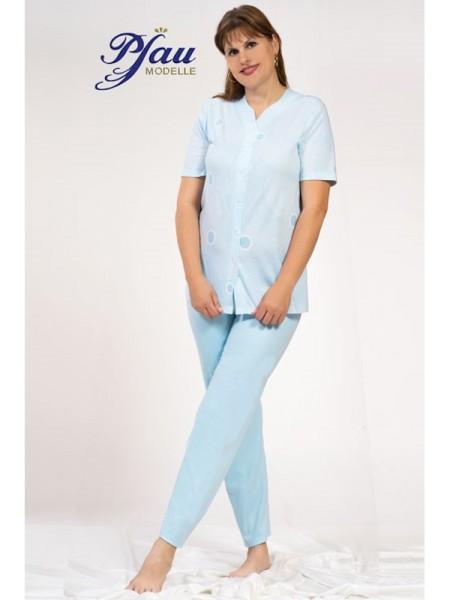 Damen Schlafanzug durchgeknöpft hellblau PFAU
