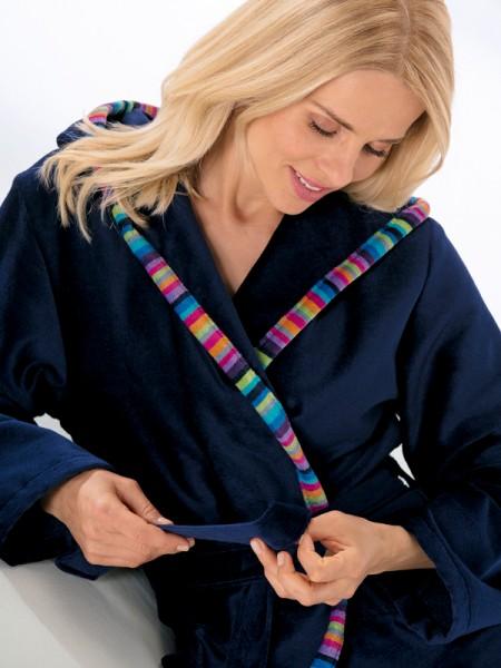 Damen Bademantel mit Kapuze dunkelblau CAWÖ