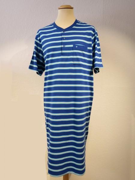 Herren Nachthemd 1/2 Arm Knopfleiste azurblau Streifen - Seidensticker
