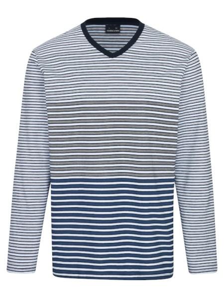 Shirt Langarm Mix & Match blau RIngel AMMANN
