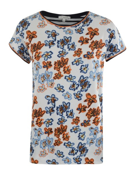 Shirt Blumenprint weiß zimt hajo