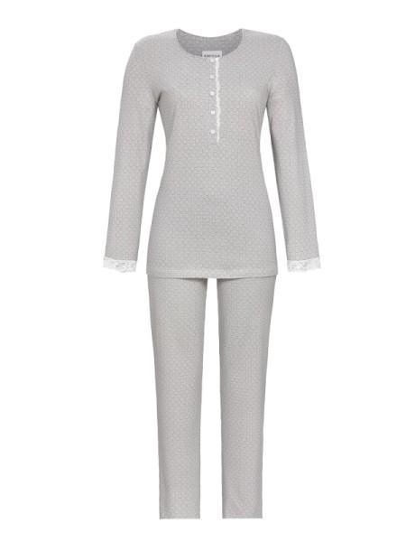 Damen Schlafanzug 7/8 Hose mit Spitze grau RINGELLA