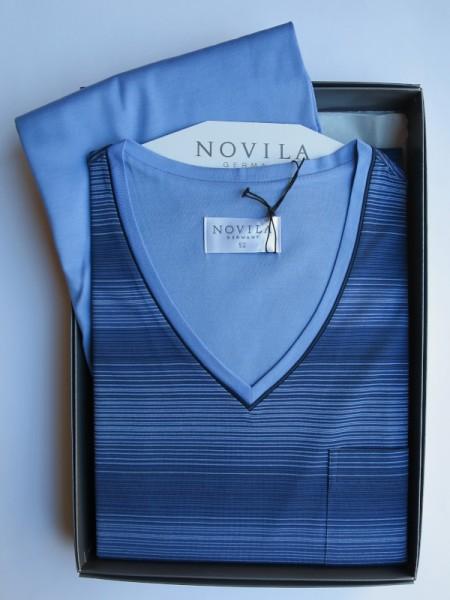 Herren Schlafanzug Sir hellblau Streifen Streifen NOVILA