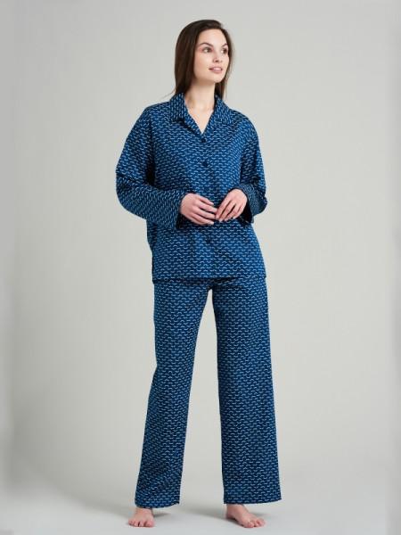 Damen Pyjama Websatin petrol SEIDENSTICKER