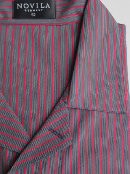 Herren Pyjama Marco anthrazit-bordeaux Streifen NOVILA