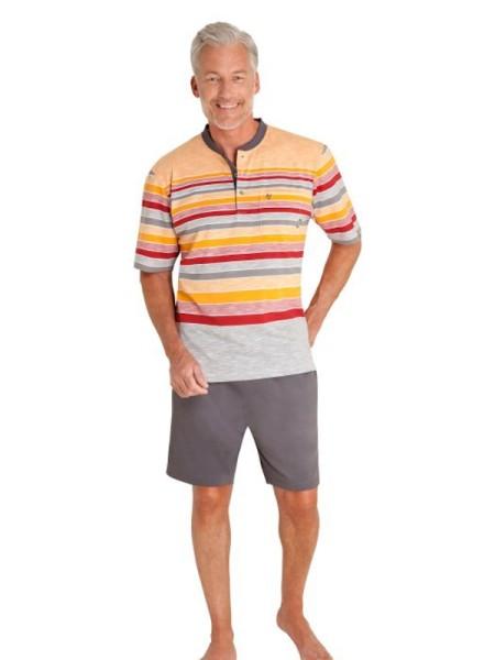 Herren Shorty - kurzer Schlafanzug Klima Komfort orange grau - hajo