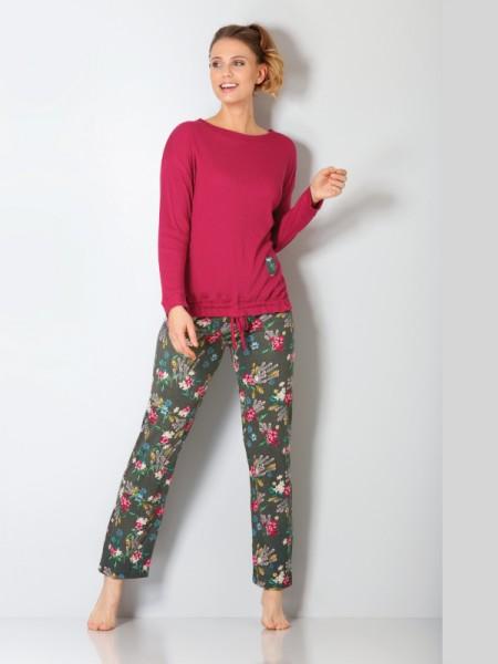 Damen Schlafanzug Premium Cotton Tencel chianti/zeder hajo