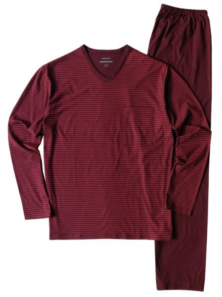 Herren Schlafanzug extra light cotton granatrot - AMMANN