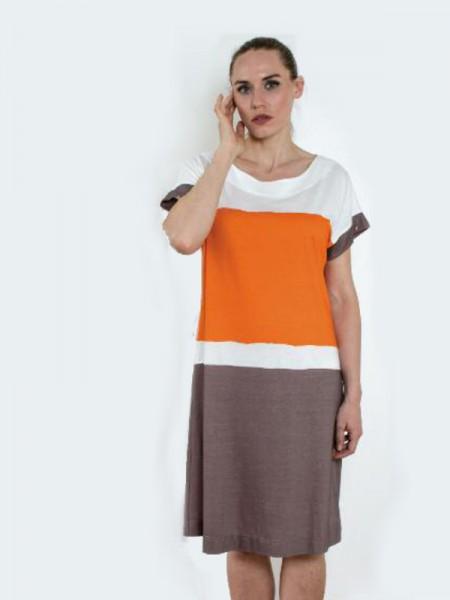 Strandkleid / Hauskleid orange / taupe HUTSCHREUTHER