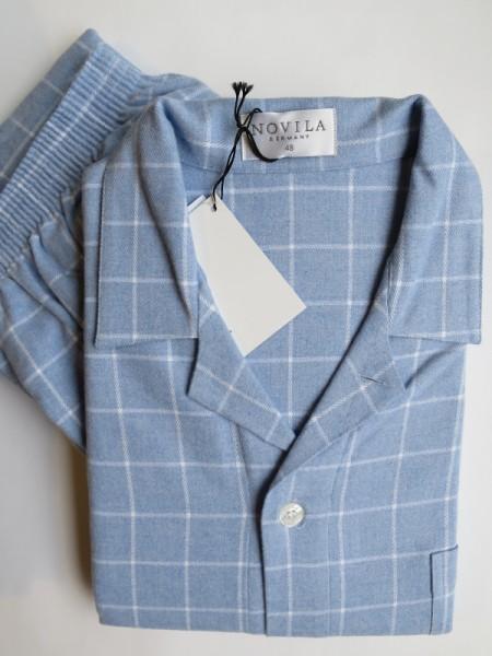 Flanell Pyjama Max hellblau Karo NOVILA