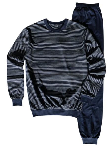 AMMANN Herren Schlafanzug Winter-Cotton marine Streifen