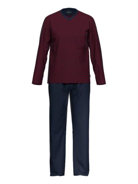 Herrenschlafanzug extra light cotton granatrot AMMANN