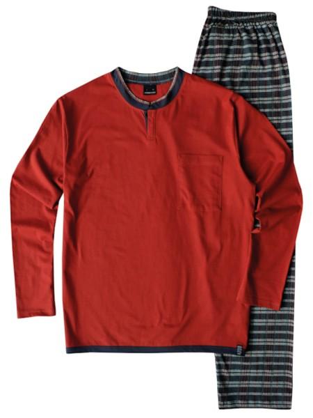 Herren Schlafanzug 100% Baumwolle terracotta AMMANN